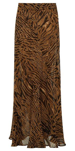 Ganni tiger-print crepe maxi skirt in brown multi