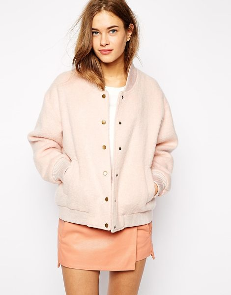 Ganni Varsity bomber jacket in rose smoke - Jacket by Ganni Felted wool Fully lined Ribbed collar...