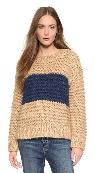 Ganni Walker street sweater in camel melange/dress blues - A broad stripe accents the front of this cozy Ganni...