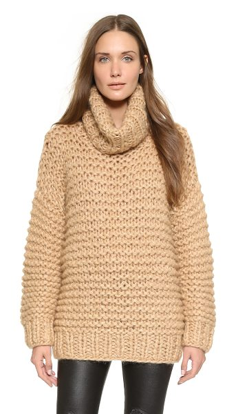 Ganni Walker street turtleneck sweater in camel melange - A slouchy Ganni turtleneck sweater in brushed knit....