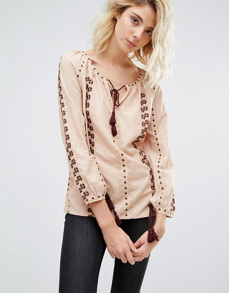 Gat Rimon Analis Boho Embroidered Blouse in pink - Blouse by Gat Rimon, Natural woven fabric, Scoop...