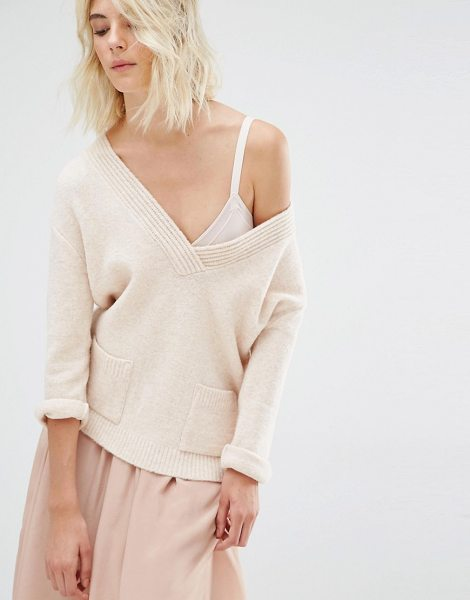 Gat Rimon Ugo V Neck Sweater in cream - Sweater by Gat Rimon, Fluffy wool-mix knit, V-neckline,...