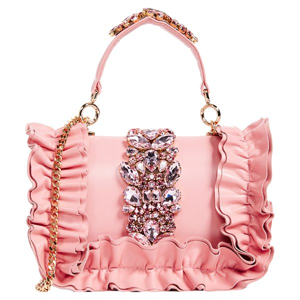 GEDEBE bibi top handle bag - Tiered ruffles and glittering crystals add glamorous...