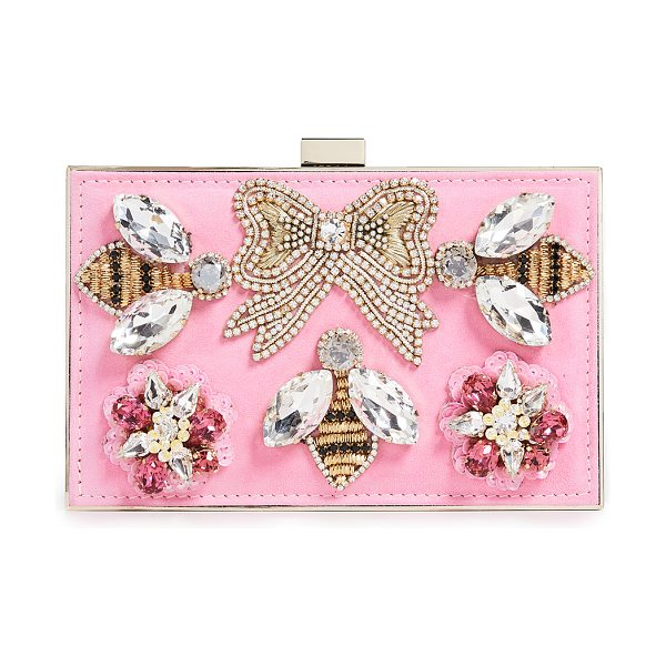 GEDEBE boxy clutch in pink - Fabric: Sleek metal / suede Leather: Calfskin Beaded bee...