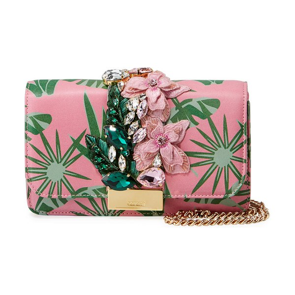 GEDEBE Cliky Mini Jeweled Leather Clutch Bag in pink