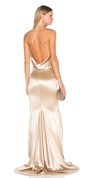 Gemeli Power Barthelemy Gown in light champagne gold - 90% poly 5% elastane 5% spandex. Dry clean recommended....