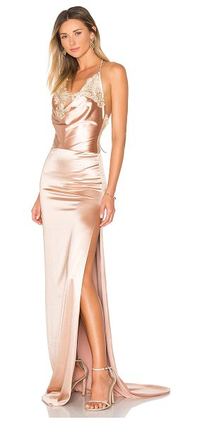 Gemeli Power Charlot Gown in metallic copper - Silk blend. Dry clean only. Fully lined. Halter strap...