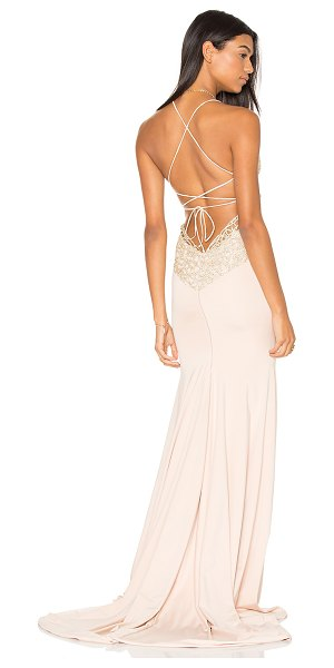 """Gemeli Power Jay & Co Gown in blush - """"90% poly 5% elastane 5% spandex. Dry clean only. Fully..."""