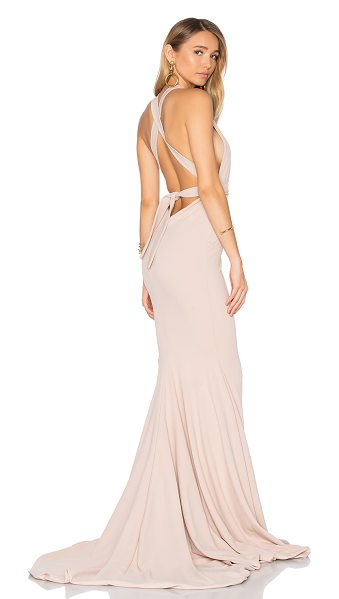 Gemeli Power Las Lasciiv Gown in blush - Poly blend. Dry clean only. Fully lined. Adjustable wrap...