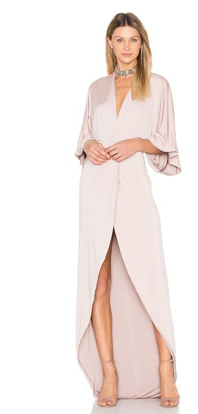 Gemeli Power Peche Robe Gown in latte - 90% poly 5% elastane 5% spandex. Dry clean recommended....