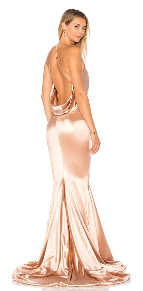 Gemeli Power Satin Barthelemy Gown in rose - Silk blend. Hand wash cold. Fully lined. Draped fabric...