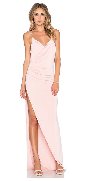 Gemeli Power The Kotahi Gown in blush - Poly blend. Hand wash cold. Fully lined. Pleated drape...