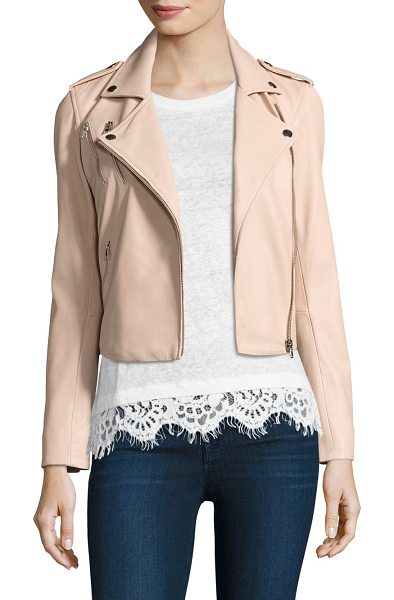 Generation Love callahan lace-up leather moto jacket in blush - Lace-up sides add edge to leather moto jacket. Fold-over...