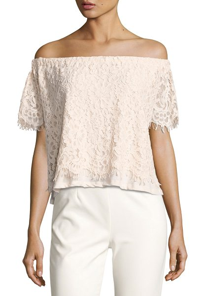 "GENERATION LOVE Carly Off-the-Shoulder Lace Top - Generation Love ""Carly"" lace top. Off-the-shoulder..."