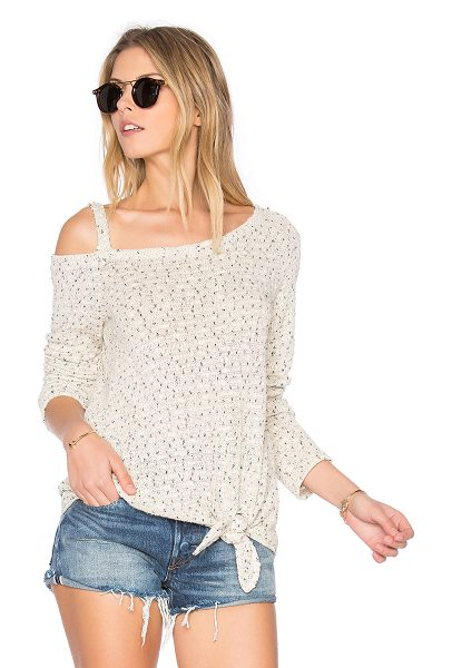 Generation Love Dustin Sweater in beige - 80% cotton 20% poly. Hand wash. Shoulder cut-out. Knot...