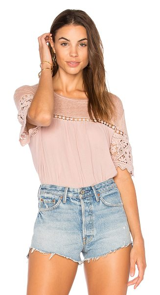 Generation Love Fran Gauze Top in rose - Cotton blend. Jersey knit yoke. Lace sleeves....