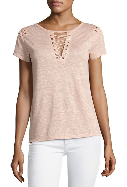 "Generation Love Hugo Lace-Up Linen Top in pink - Generation Love ""Hugo"" heathered linen top. Lace-up..."