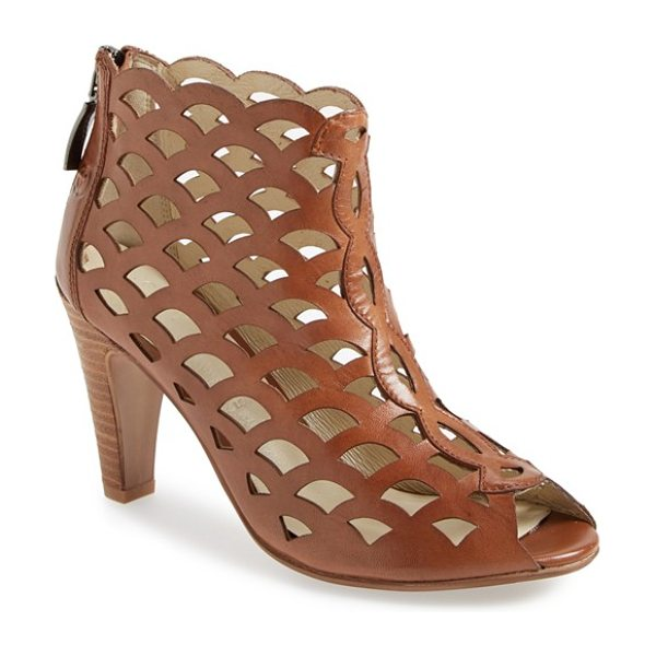 GERRY WEBER sascha leather cage sandal in brown - A laser-cut lattice finish adds a stunning vintage...