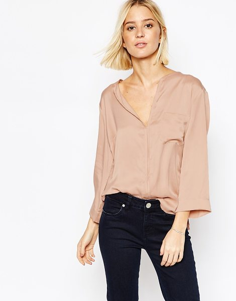 Gestuz Pocket blouse with silk front in rose pink - Blouse by Gestuz, Lightweight silk, Contrast back...