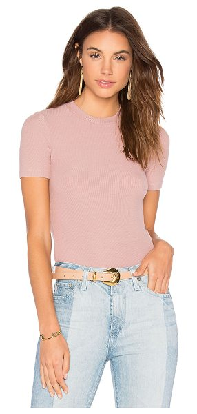 GETTINGBACKTOSQUAREONE Short Sleeve Crop Sweater in mauve - 95% viscose 5% elastane. Dry clean only. Rib knit...