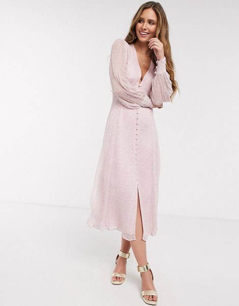 Ghost adorlee georgette floral button down midi dress in pink in pink