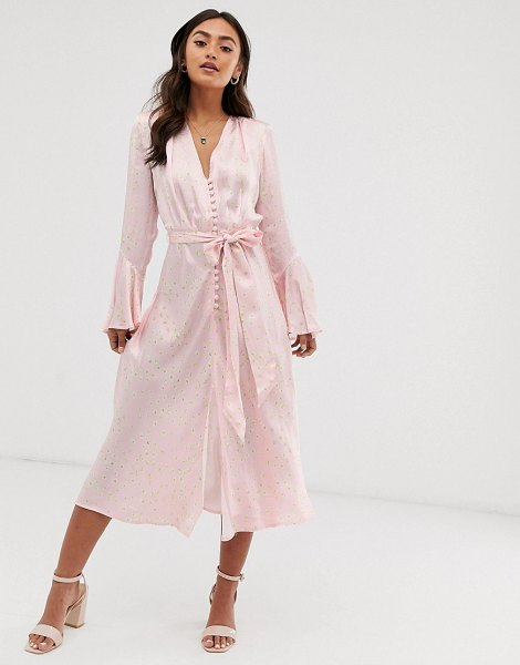 Ghost annabelle satin button front midi dress in daisy print-pink in pink