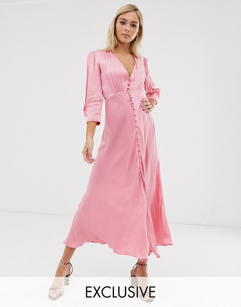 Ghost exclusive maddison button front satin midi dress-pink in pink