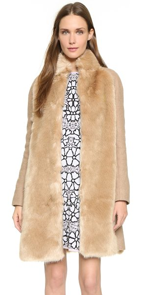 GIAMBA Faux fur panel coat in beige - Soft faux fur lends a luxe element to this camel Giamba...