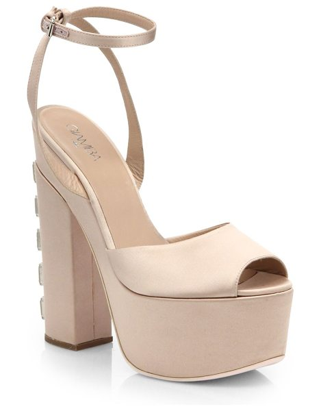 GIAMBA Velvet crystal-heel satin platform sandals in nude - EXCLUSIVELY AT SAKS IN NUDE. These soaring platform...
