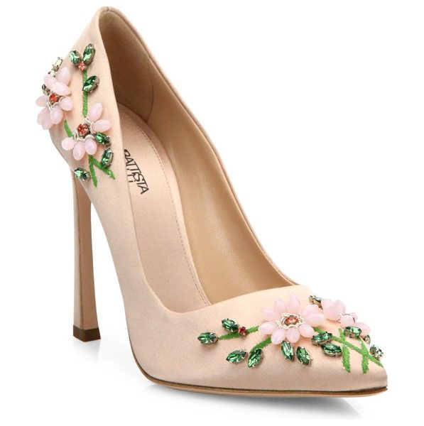 Giambattista Valli Floral-embroidered satin pumps in pink - Crystal-embellished floral embroidery enlivens elegant...