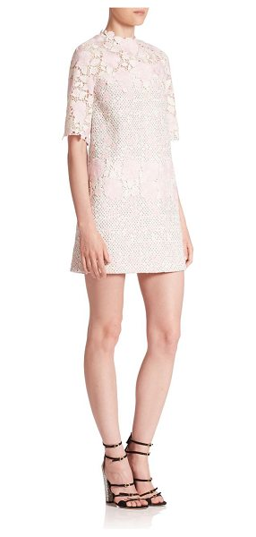 Giambattista Valli short-sleeve patch macrame caban dress in palepink - Beautiful floral lace highlights this macrame dress....