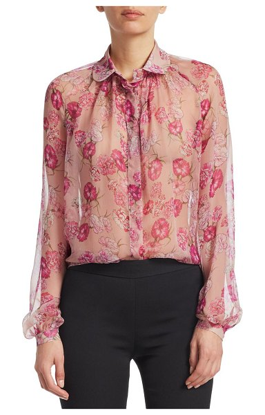 Giambattista Valli floral-print silk blouse in rose - This idyllic silk blouse features stunning painterly...