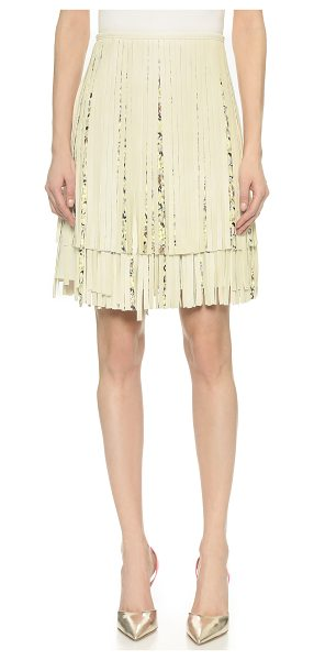 Giambattista Valli fringed leather skirt in cream multi - Tiered panels of solid and patterned leather fringe fall...