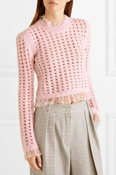 Giambattista Valli lace-trimmed open-knit wool and mohair-blend sweater in pink