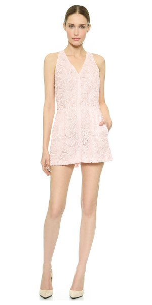 Giambattista Valli Leaf lace romper in pink - This elegant Giambattista Valli romper is crafted in...