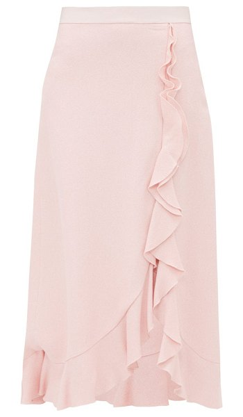 Giambattista Valli ruffled crepe sable midi skirt in pink