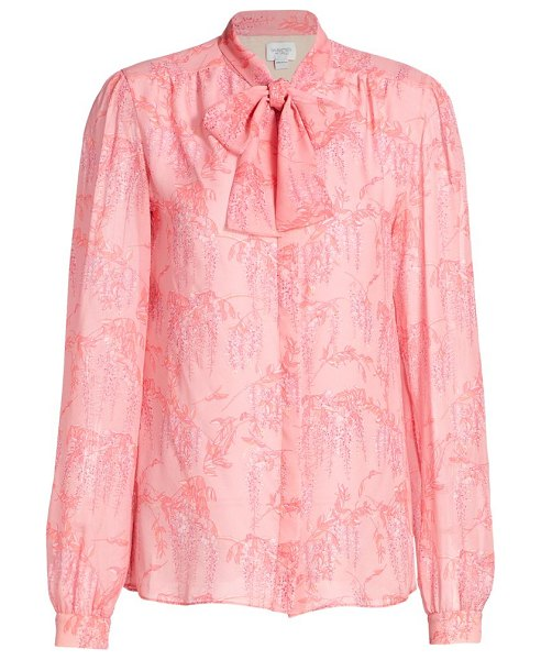 Giambattista Valli silk floral tieneck blouse in rouge rose