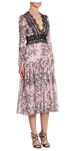 GIAMBATTISTA VALLI zinnia silk & lace gown in rosa - Pretty silk gown punctuated with chantilly lace.V-neck....