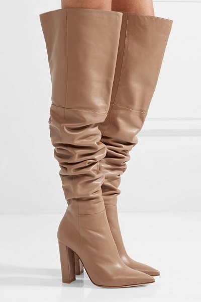 Gianvito Rossi 100 leather over-the-knee boots in sand - Gianvito Rossi's slouchy boots reach high into the...