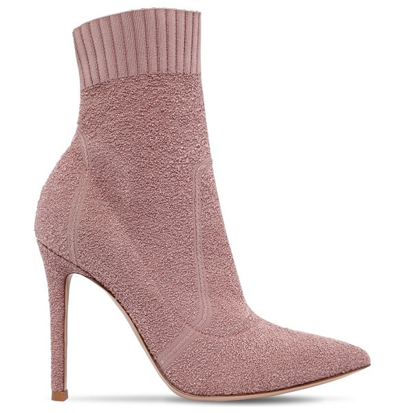 Gianvito Rossi 100mm fiona boucle knit boots in blush
