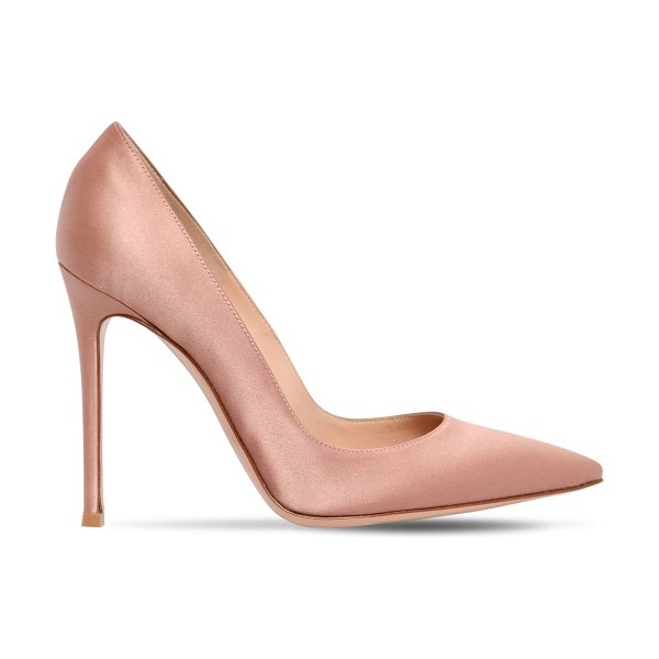 Gianvito Rossi 100mm gianvito satin pumps in poudre - 100mm Satin covered heel. Satin upper. Pointed toe. Leather sole