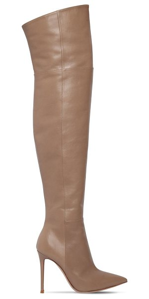 Gianvito Rossi 100mm over the knee nappa leather boots in beige - 100mm Leather covered heel. Pointed toe. Side zip...