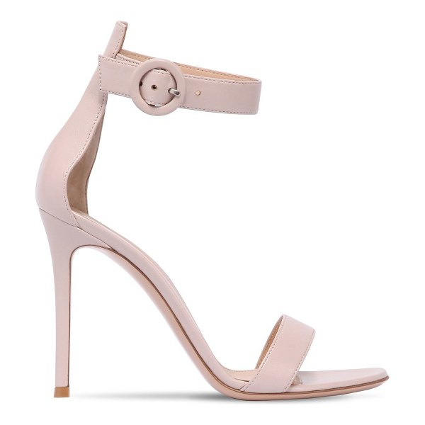 Gianvito Rossi 100mm portofino leather sandals in pink - 100mm Nappa leather covered heels. Nappa leather upper....