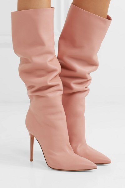 Gianvito Rossi 105 leather knee boots in antique rose