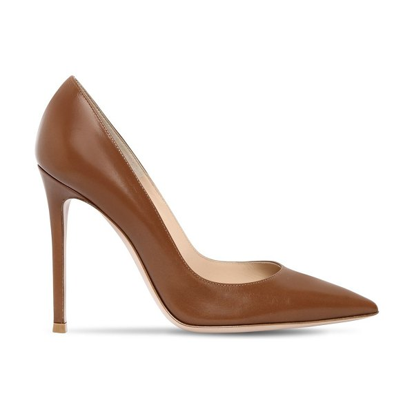 Gianvito Rossi 105mm gianvito leather pumps in tan - 105mm Leather covered heel. Pointed toe. Leather sole