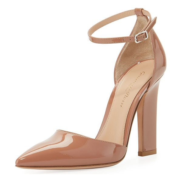 "Gianvito Rossi 105mm Patent d'Orsay Ankle-Wrap Sandal in nude - Gianvito Rossi patent leather sandal. 4.1"" covered..."