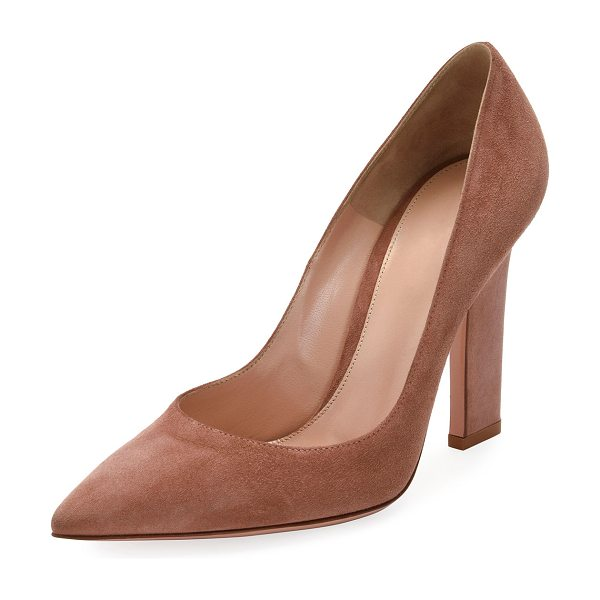 "GIANVITO ROSSI 105mm Wide-Heel Suede Pump - Gianvito Rossi suede pump. 4.2"" wide-cut, covered heel...."