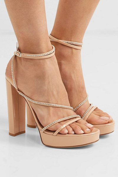 Gianvito Rossi 125 crystal-embellished patent-leather platform sandals in neutral