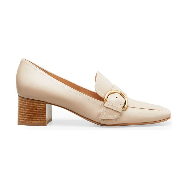 Gianvito Rossi 45 mm Square-Toe Leather Loafers in neutral pattern