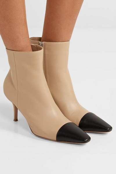 Gianvito Rossi 70 two-tone leather ankle boots in beige